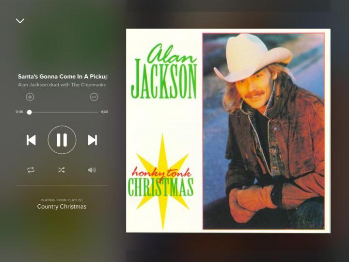 alan-jackson-the-chipmunks-santa's gonna come in a pickup-spotify-screenshto